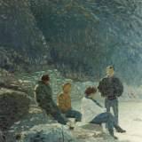 102 - Pause matinale - Huile - 73 x 54 cm - Collection particulière