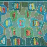 202 - Patchwork de saris - Huile - 65 x 92 cm