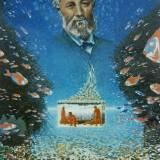 55- L'aquarium - Jules Verne - Huile - 130 x 97 cm